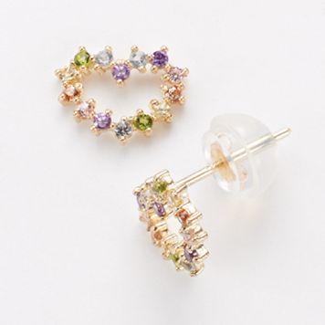 Junior Jewels 14k Gold Cubic Zirconia Heart Stud Earrings - Kids