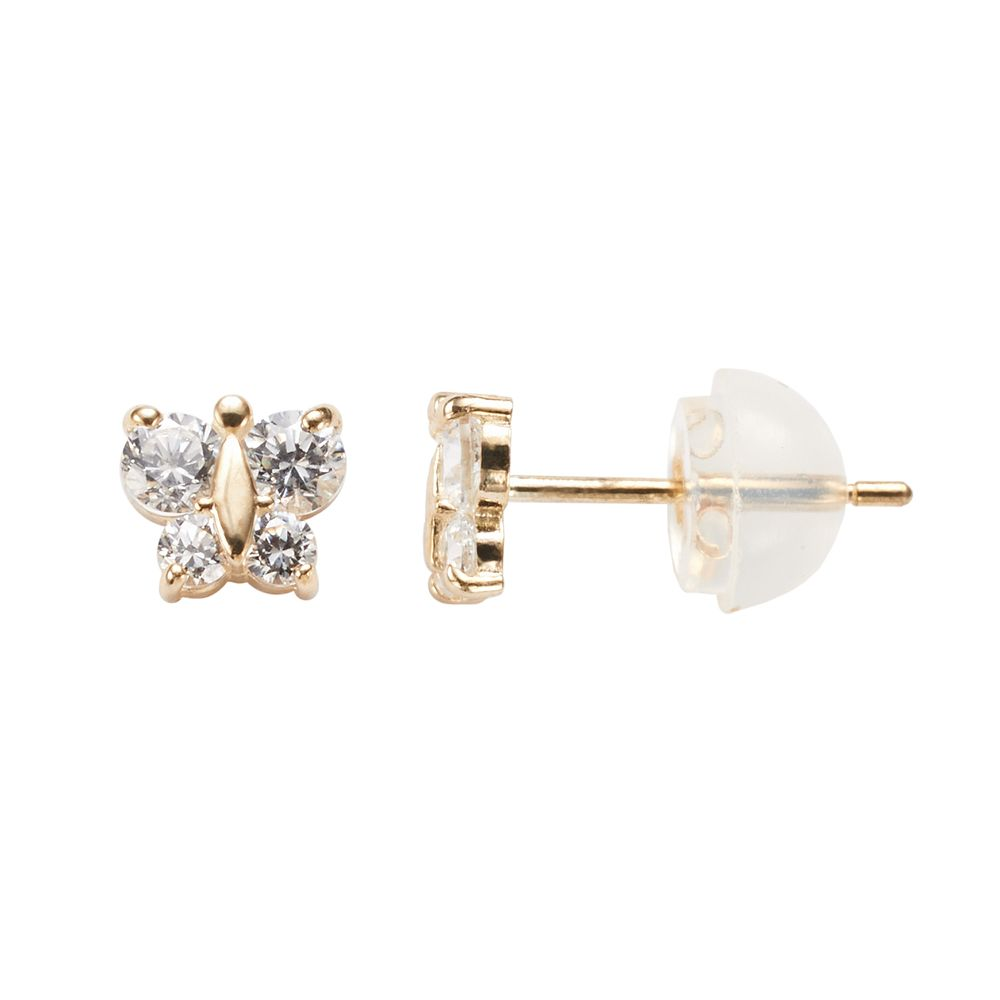 74e5f6f00 Junior Jewels 14k Gold Cubic Zirconia Butterfly Stud Earrings - Kids