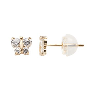 Junior Jewels 14k Gold Cubic Zirconia Butterfly Stud Earrings - Kids