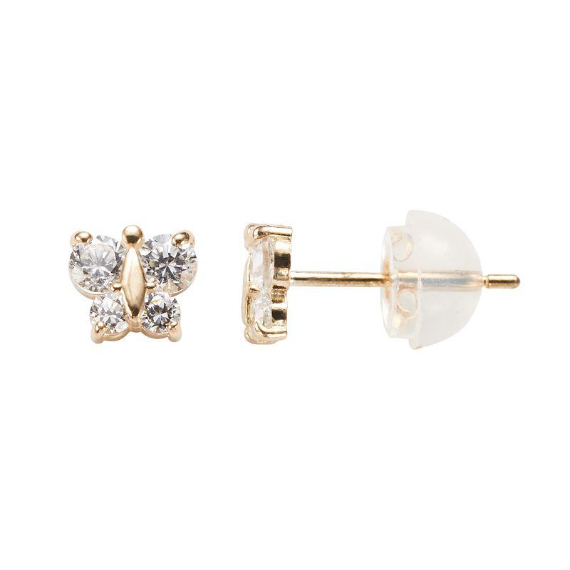 73aadd65f UPC 696514006180 product image for Junior Jewels 14k Gold Cubic Zirconia  Butterfly Stud Earrings - Kids ...