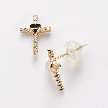 Junior Jewels 14k Gold Cubic Zirconia Cross Stud Earrings - Kids