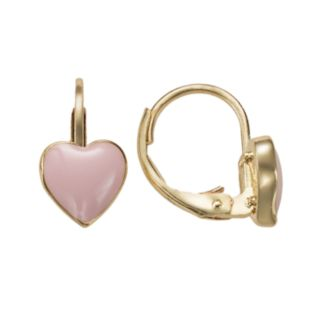 Junior Jewels 18k Gold Plated Pink Enamel Heart Drop Earrings - Kids