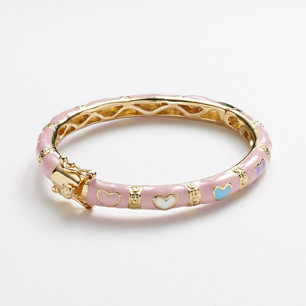 Junior Jewels Br Pink Enamel Heart Bangle Bracelet Kids