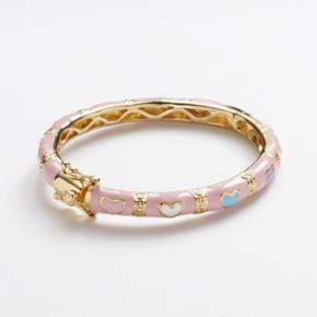 Junior Jewels Brass Pink Enamel Heart Bangle Bracelet - Kids