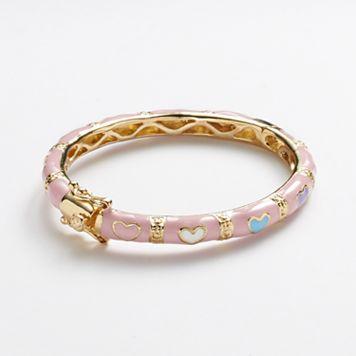 Junior Jewels Brass Pink Enamel Heart Bangle Bracelet - Kids