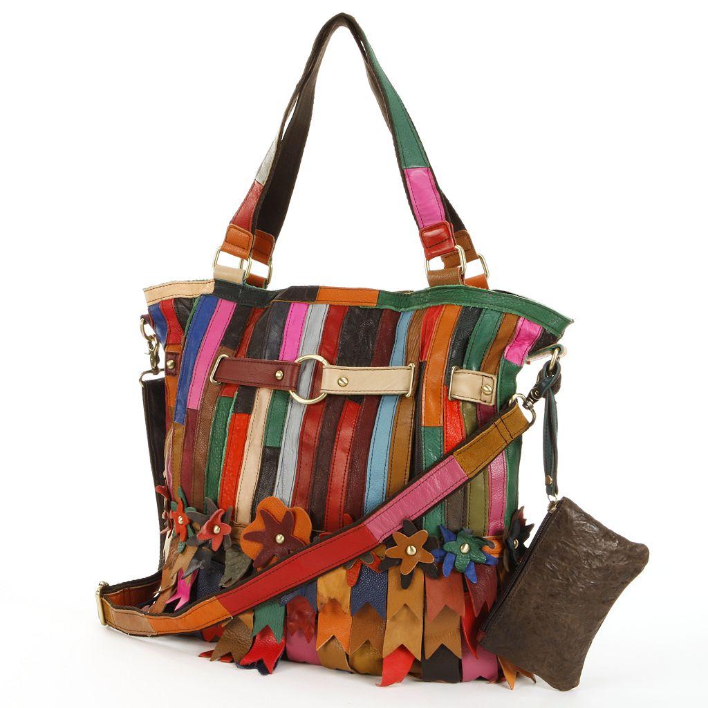 AmeriLeather Kylie Leather Striped & Floral Patchwork Convertible Shoulder Bag