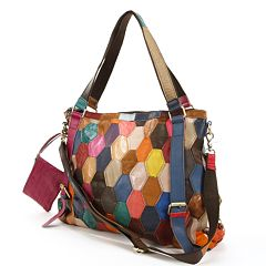 AmeriLeather Miya Leather Honeycomb Patchwork Convertible Shoulder Bag