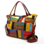 AmeriLeather Rainbow Mazy Leather Convertible Tote