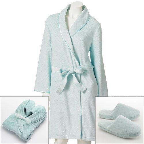 Women's Croft & Barrow® Plush Shawl Robe and Slipper Gift Set