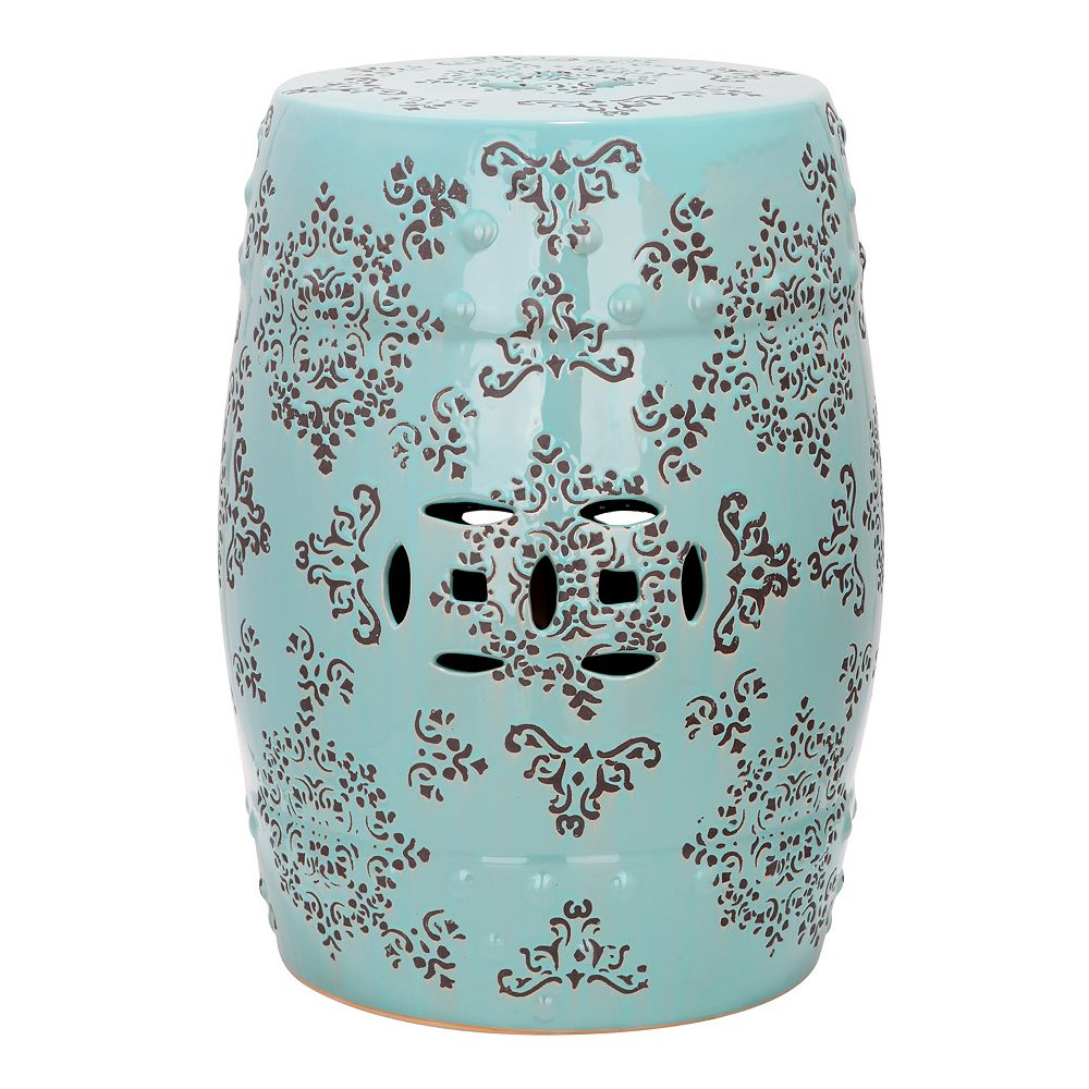 accent cream garden stool outdoor round stools ceramic patio floral chinese small itm