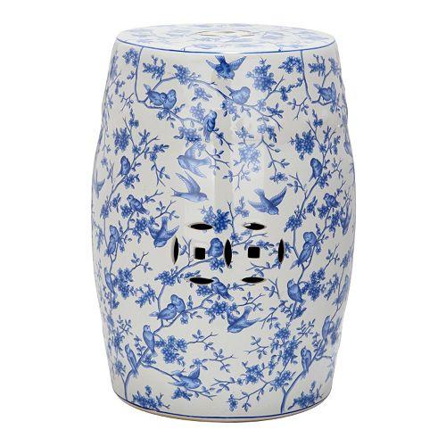 Safavieh Blue Birds Ceramic Garden Stool