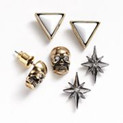 Rock and Republic Two Tone Simulated Crystal Pyramid, Skull and Star Stud Earring Set