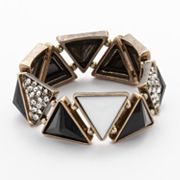 Rock and Republic Gold Tone Simulated Crystal and Bead Pyramid Stretch Bracelet