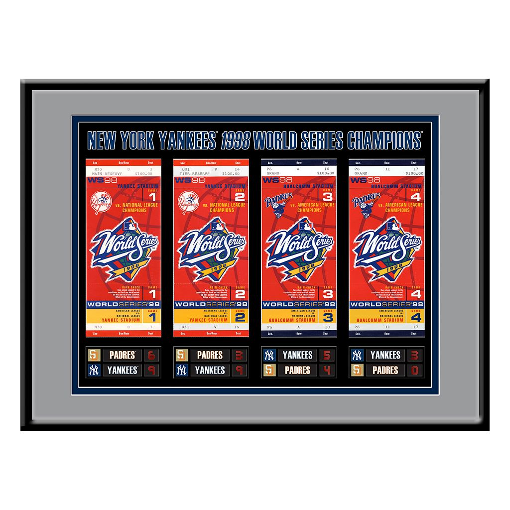 New York Yankees 1998 World Series Tickets To History Framed Print