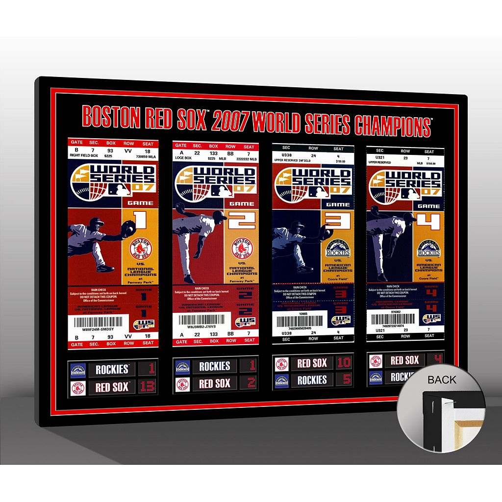 Boston Red Sox 2007 World Series Tickets To History Canvas Print