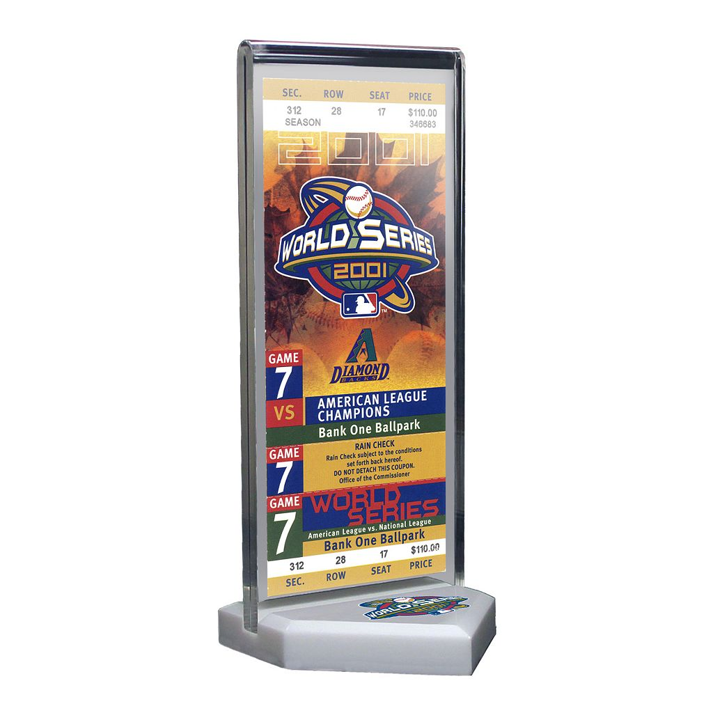 Arizona Diamondbacks 2001 World Series Commemorative Ticket Desktop Display