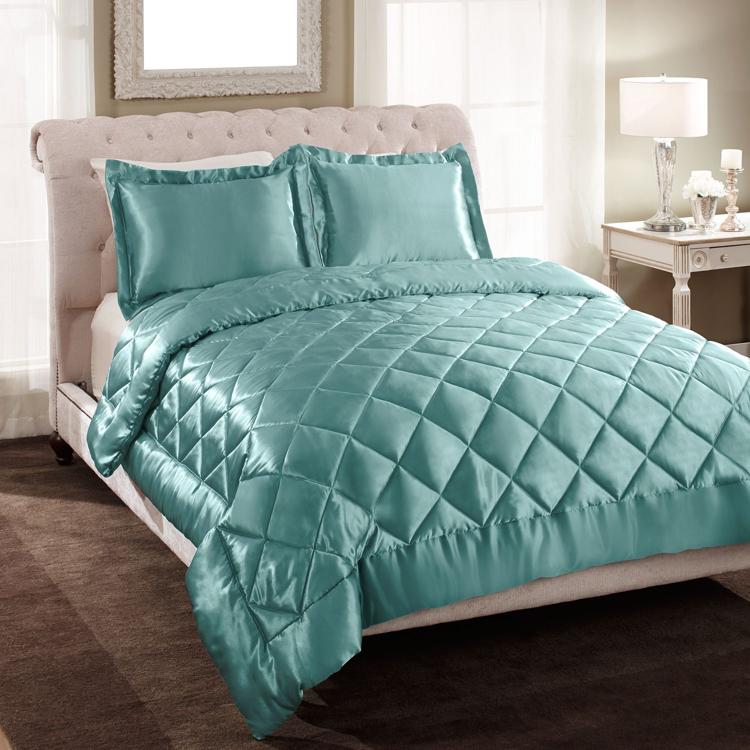 Patti Labelle Quilted Satin Comforter Set King 87 74