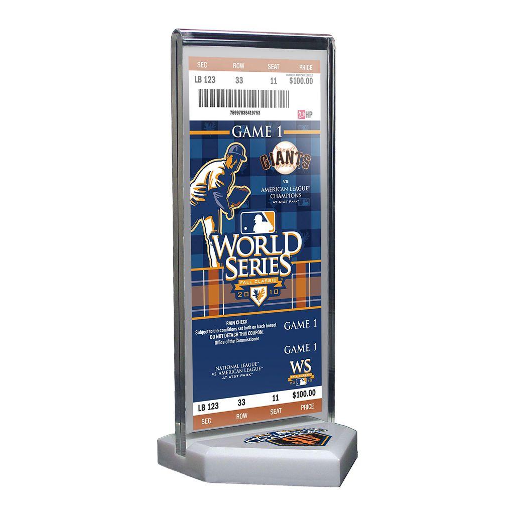 San Francisco Giants 2010 World Series Commemorative Ticket Desktop Display