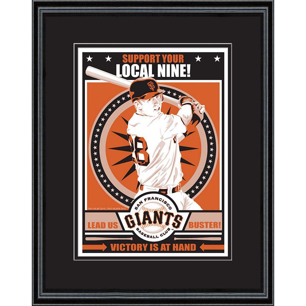 San Francsico Giants Buster Posey Handmade LE Framed Screen Print By Sports Propaganda