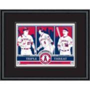 Los Angeles Angels of Anaheim Trout, Pujols & Hamilton Handmade LE Framed Screen Print By Sports Propaganda