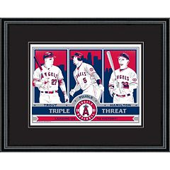 Los Angeles Angels of Anaheim Trout, Pujols & Hamilton Handmade LE Framed Screen Print By Sports Propaganda