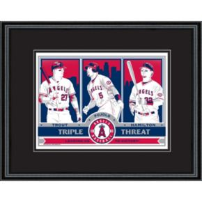 Los Angeles Angels of Anaheim Trout, Pujols and Hamilton Handmade LE Framed Screen Print By Sports Propaganda