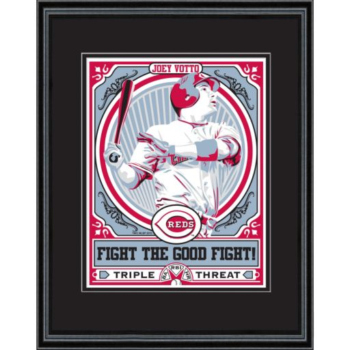 Cincinnati Reds Joey Votto Handmade LE Framed Screen Print By Sports Propaganda