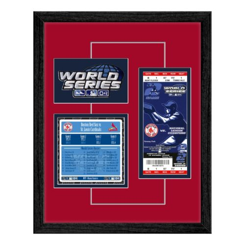 Boston Red Sox 2004 World Series Replica Ticket And Patch Frame