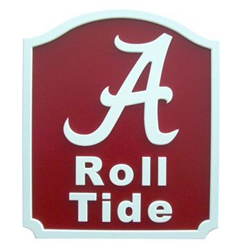 Alabama Crimson Tide Carved Team Shield Wall Art