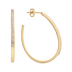 The Silver Lining 24k Gold Over Brass Cubic Zirconia U-Hoop Earrings
