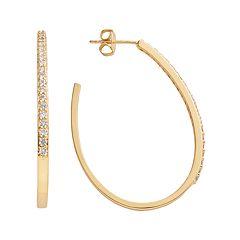 The Silver Lining 24k Gold Over Brass Cubic Zirconia U-Hoop Earrings