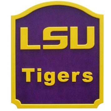 LSU Tigers Carved Team Shield Wall Art