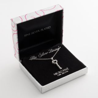 The Silver Lining Silver-Plated Cubic Zirconia Key Pendant