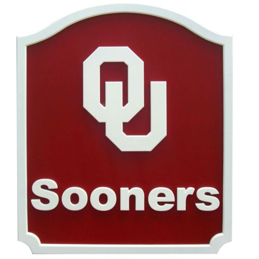 Oklahoma Sooners Carved Team Shield Wall Art