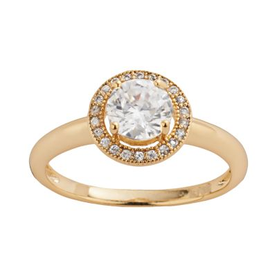 The Silver Lining 24k Gold Over Brass Cubic Zirconia Frame Ring