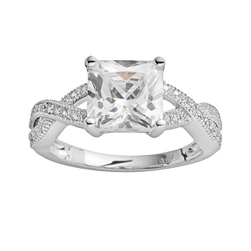 The Silver Lining Silver-Plated Cubic Zirconia Crisscross Ring