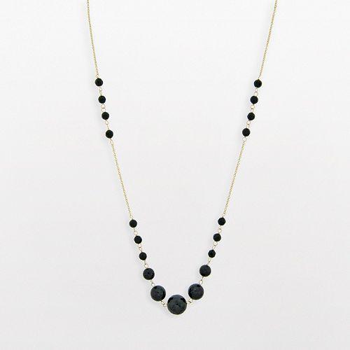 10k Gold Black Onyx Bead Necklace