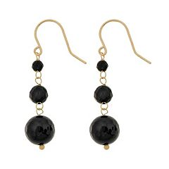 10k Gold Black Onyx Bead Linear Drop Earrings