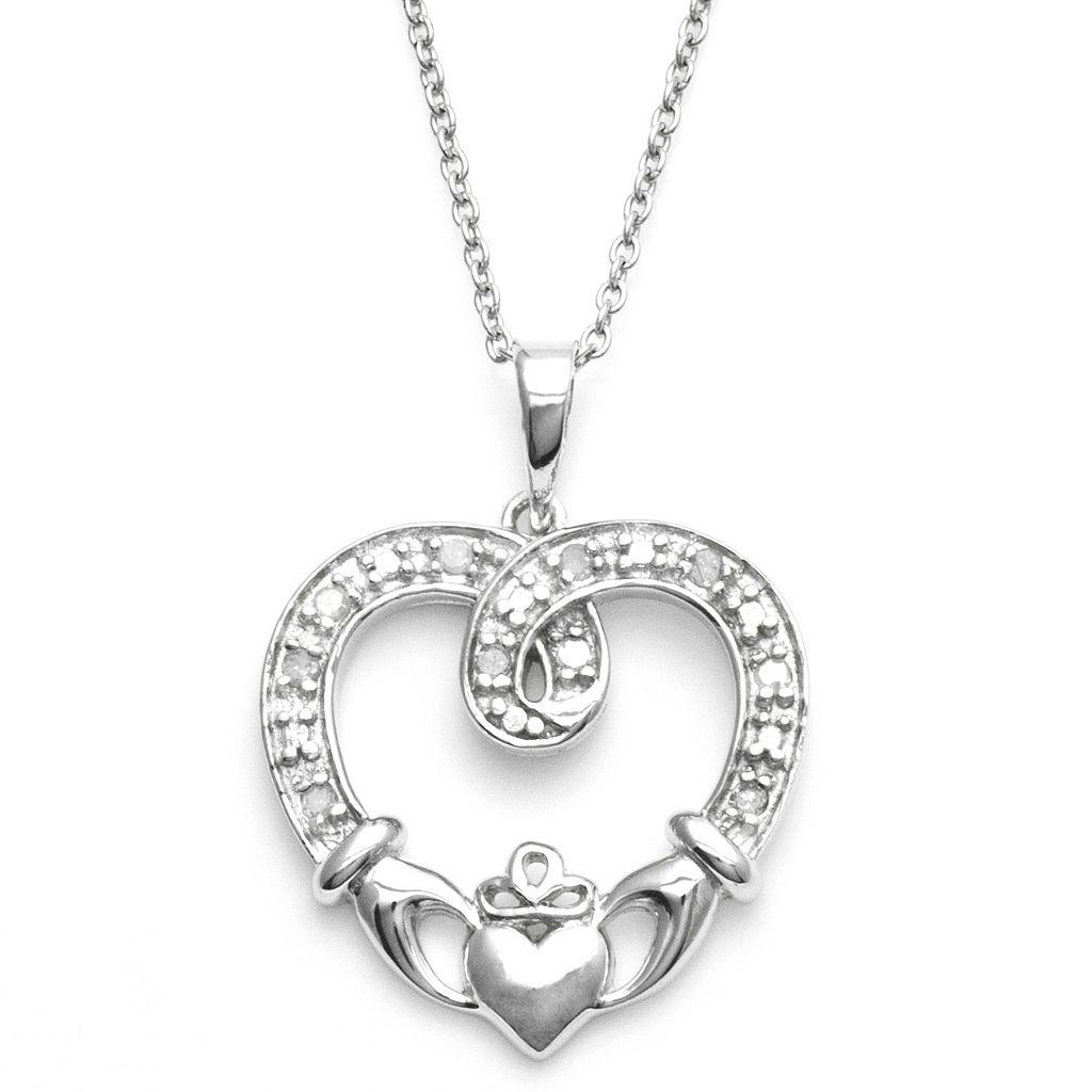Sterling Silver 1/10-ct. T.W. Diamond Claddagh Heart Pendant