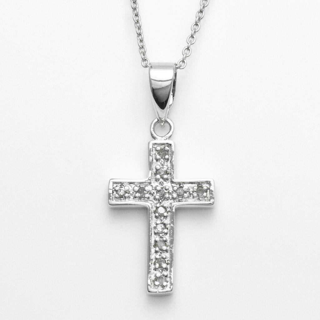 Sterling Silver 1/10-ct. T.W. Diamond Cross Pendant