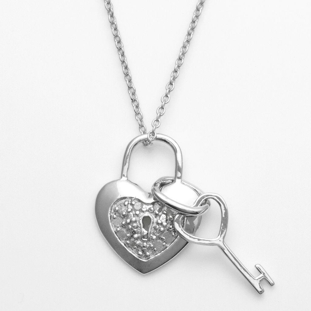 Sterling Silver 1/10-ct. T.W. Diamond Heart Lock & Key Pendant