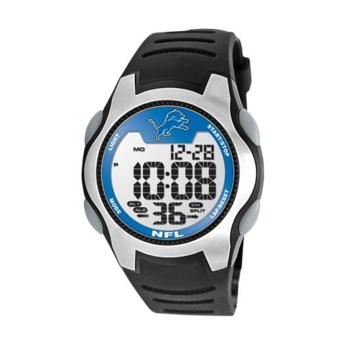 Game Time Training Camp Detroit Lions Silver Tone Digital Chronograph Watch - NFL-TRC-DET - Men