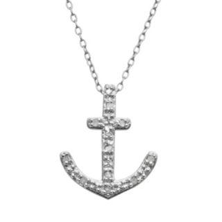 Sterling Silver 1/10-ct. T.W. Diamond Anchor Pendant