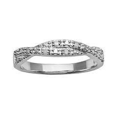 Sterling Silver 1/10 ctT.W. Round-Cut Diamond Crisscross Ring
