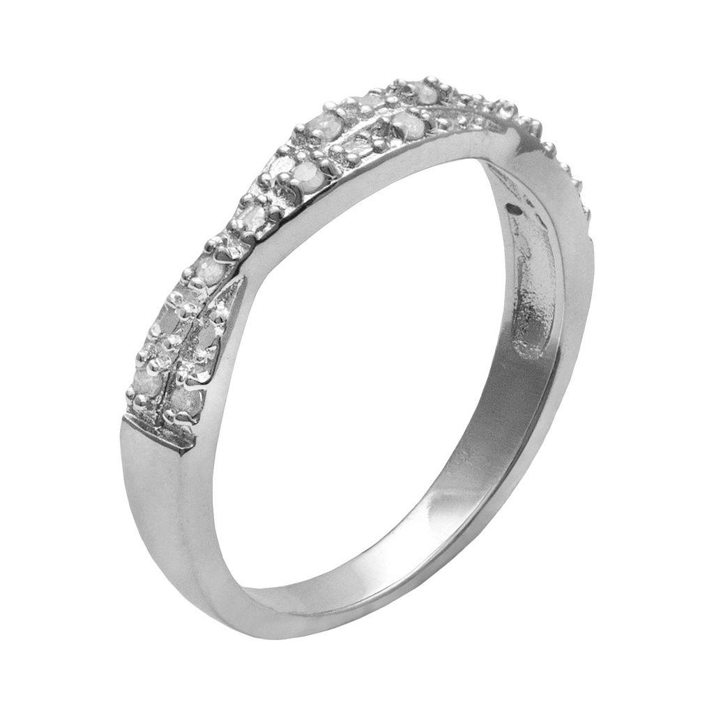 Sterling Silver 1/10-ct. T.W. Round-Cut Diamond Crisscross Ring