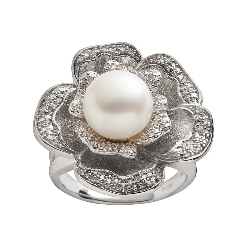 Freshwater by HONORA Sterling Silver 1/4-ct. T.W. Diamond & Freshwater Cultured Pearl Flower Ring
