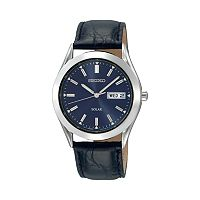 Seiko Men's Leather Solar Watch - SNE049
