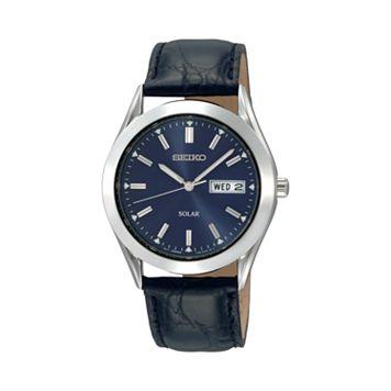 Seiko Men's Leather Solar Watch - SNE049