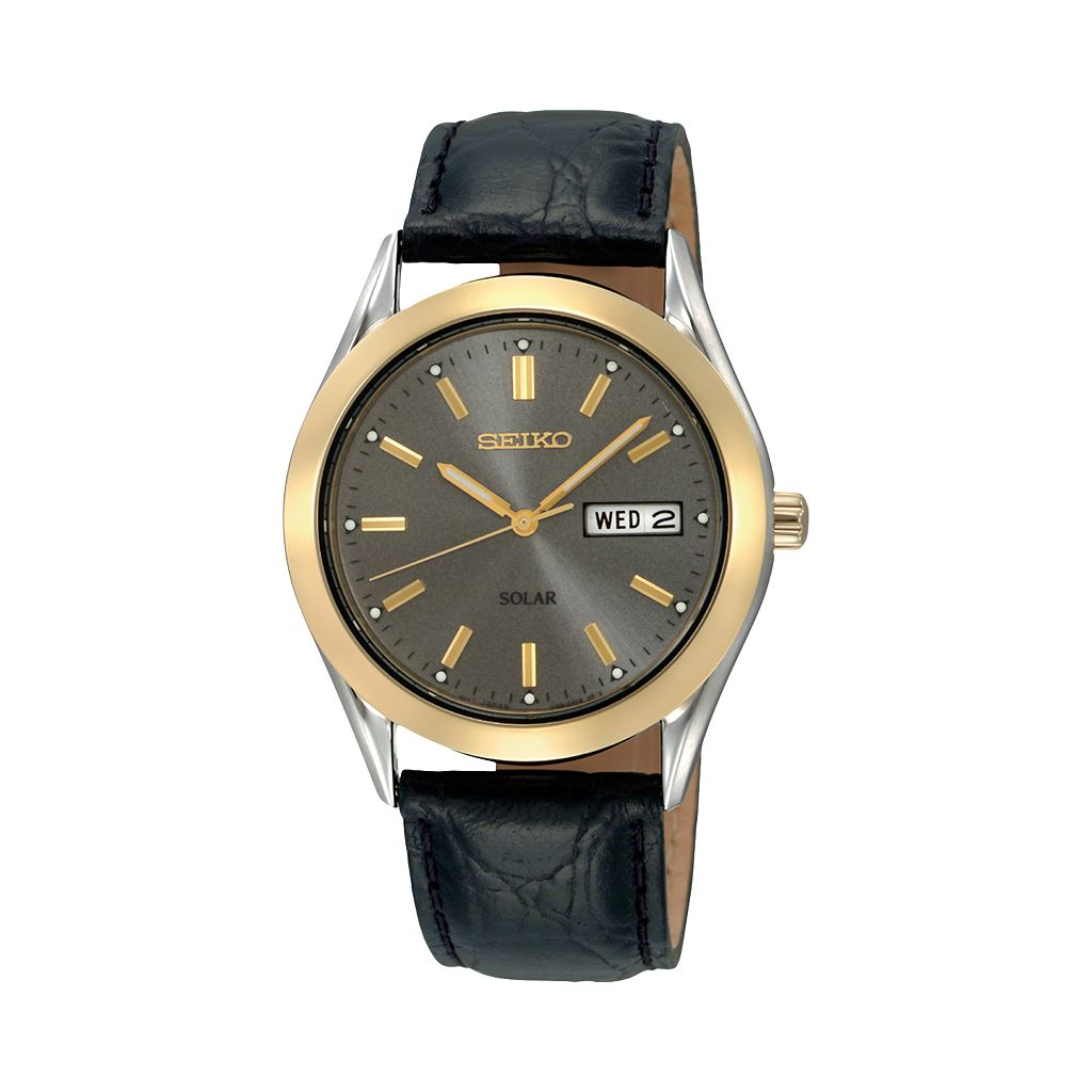 Seiko Men's Leather Solar Watch