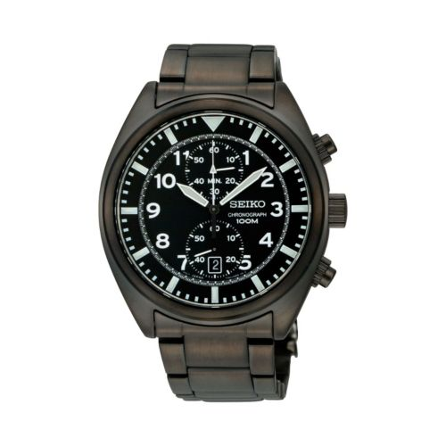 Seiko Stainless Steel Black Ion Chronograph Watch - S